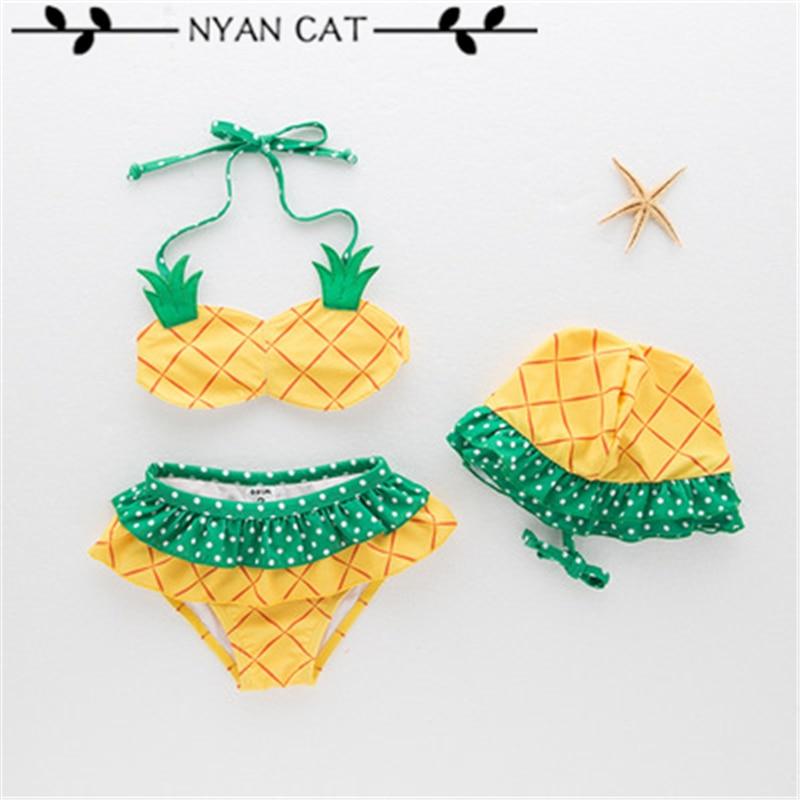 NYAN CAT  baby girls swimsuit infant toddler kids children fashion pineapple fruit swimwear hat+bra+brief