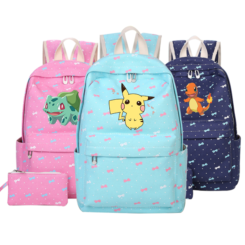 Anime Pokemon Backpack Boys Girls School Bags Children Pikachu Backpack For Teenagers Kids Gift Backpacks Schoolbags Mochila japan pokemon harajuku cartoon backpack pocket monsters pikachu 3d yellow cosplay schoolbags mochila school book bag with ears