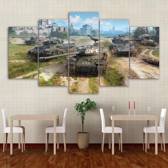 Home Decoration Living Room Pictures Framework HD 5 Panel World Of Tanks Game Wall Art Painting Modular Printed Modern Canvas