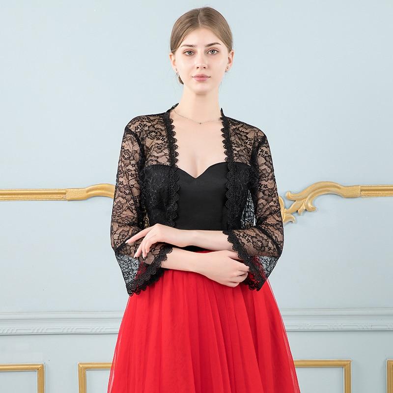 Elegant Women Black Lace Jacket For Wedding Dress Long Sleeve Appliqued Boleros Evening Party Wraps