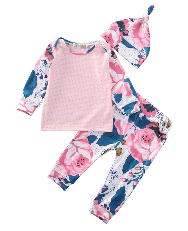 3Pcs Newborn Baby Girl Long Sleeve Tops +Floral Pants Hat Outfits Set Clothes Toddler Girls Clothes Set