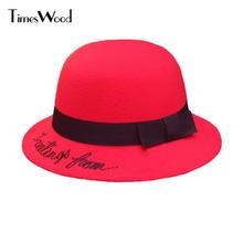2017 lindo Fieltro señoras sombrero Sombreros de fieltro sombreros para las  mujeres Rojo Negro caqui retro 35da43248b1