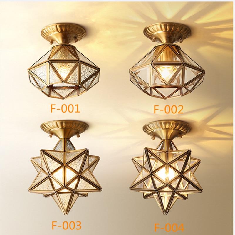 купить Retro Style Entrance Corridor Glass Ceiling Lights Art Fashion Creative Star Bronze Warm Bars Kitechen Aisle Light Fixtures по цене 4034.97 рублей