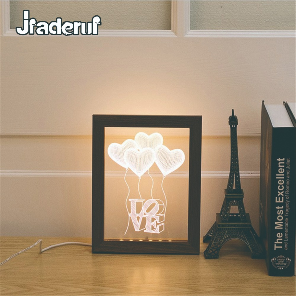 Jiaderui Novelty LED Kids Night Light Creative 3D Wood Love Photo Frame Wall Lamp Decor Home Gift Child Baby Sleeping Table Lamp kawaii animal lamp 3d led night light lovely cartoon rabbit multicolor change table home child bedroom decor kids birthday gift