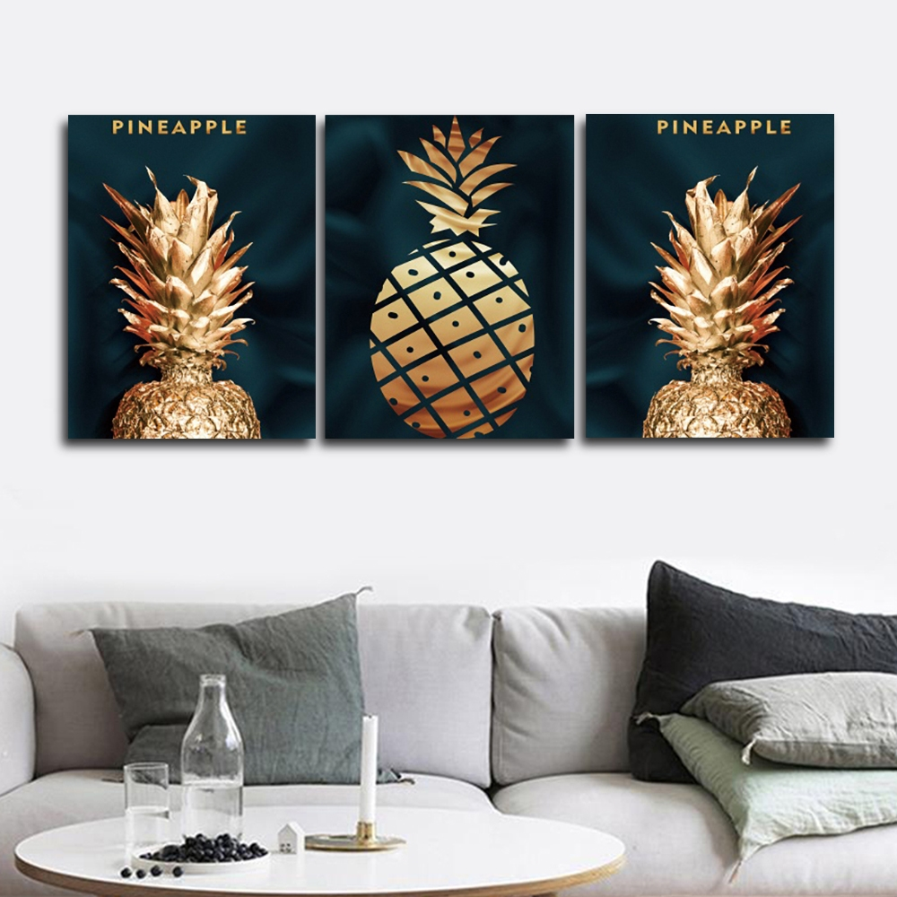 Golden Pineapple Nordic Wall Picture Poster Print Canvas Painting Calligraphy Decor for Living Room Bedroom Home Decor Frameless in Painting Calligraphy from Home Garden