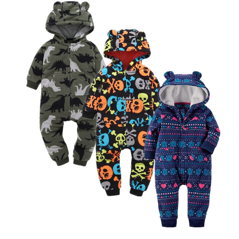 Autumn New Fleece Baby Rompers Long Sleeved Cartoon Jumpsuit Infant Hoodies Baby Girl Clothes Warm Baby Boy Overalls Clothing warm thicken baby rompers long sleeve organic cotton autumn