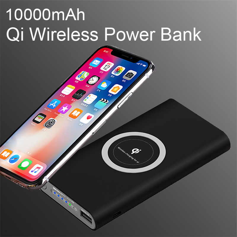 Universal 10000mAh Power Bank Qi Wireless Charger for iPhone X 8 Mobile Phone External Battery for Xiaomi Samsung Powerbank