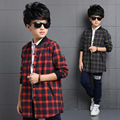 Boys Outerwear Cotton Plaid Shirts For Boys Coats Children Letter Blouses Spring Autumn Teenage Boys Tops 3 4 6 8 10 12 14 Years