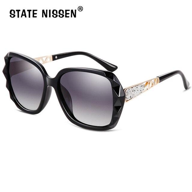 ZUSTAND NISSEN Sonnenbrille Frauen Polarisierte UV400 Elegant Diamant Schneiden Rahmen Damen Hohle heraus Beine Sonnenbrille Fahren Weibliche-in Sonnenbrillen aus Kleidungaccessoires bei