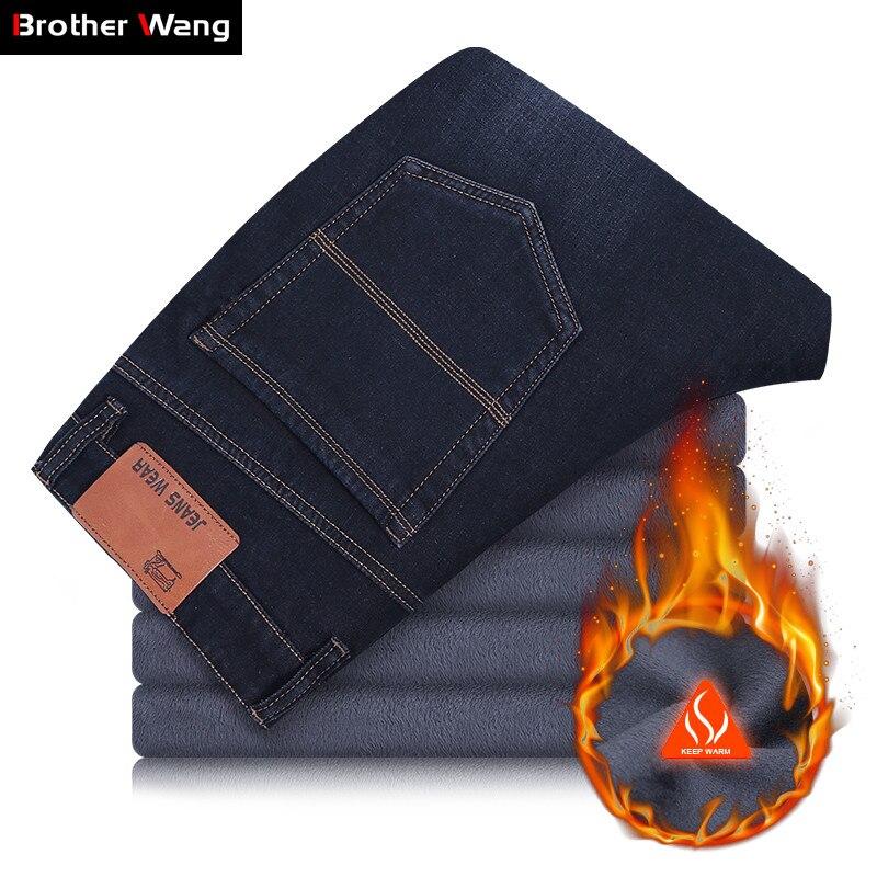 2019 New Winter Warm Plus Size   Jeans   Men Business Casual Denim Elastic Trousers Fleece Thick Straight Black Pants Male Brand