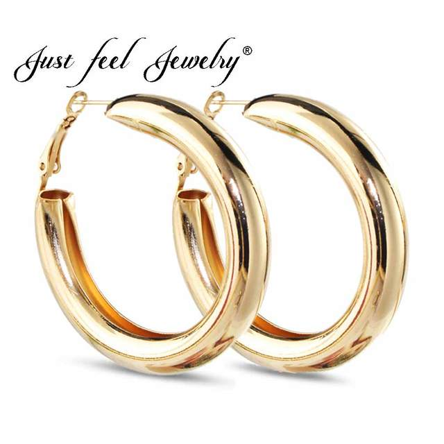 fcf08d58f JUST FEEL 50 MM Big Gold Hoops Earrings Minimalist Thick Tube Round Circle  Rings Earring For Women Zinc Alloy Trendy Hiphop Rock