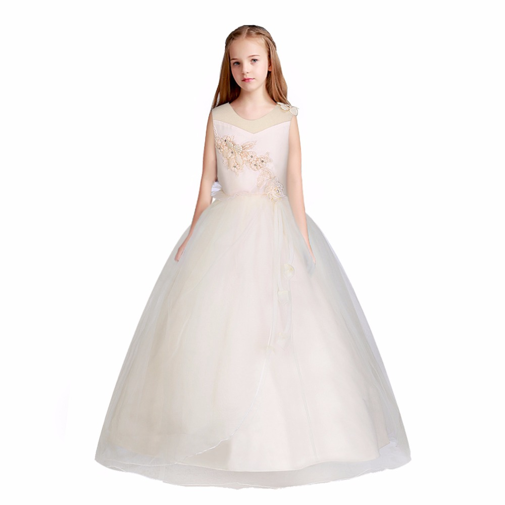 5-16 year Kids Girls Sleeveless Princess Dresses Long Formal Wedding Party Pageant Ceremony Dress Vestidos Children Clothes 2018 azel 4 12t children party wear short front long back formal dress white princess wedding flower girl vestidos girls clothes