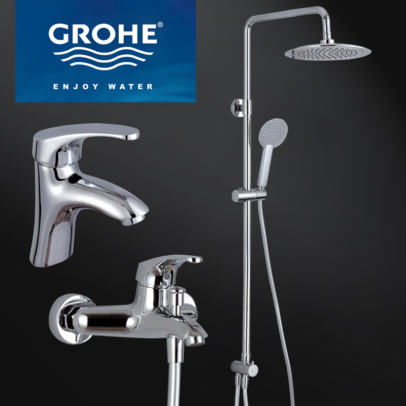 SuperDeals - Modern Grohe Chrome Finish Brass Bathroom Rain Shower ...