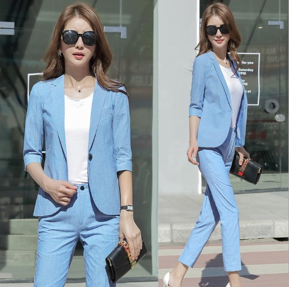 Woman Office Work Striped Pants Suit For Women Business Casual Outfit Womens Trousers Suits Black White Blue Blazer with Pants