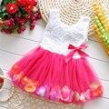 Muchachas Del verano Del Bebé Vestido de la Muchacha de Flor Rosa Pétalo Hem Vestido Variedad de Color Caramelo Lindo Encaje Vestido de Tul Sin Mangas Vestidos Infantis