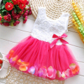 Summer Baby Girls Dress Girl Flower Rose Petal Hem Dress Variety Candy Color Cute Lace Sleeveless Tulle Dress Vestidos Infantis