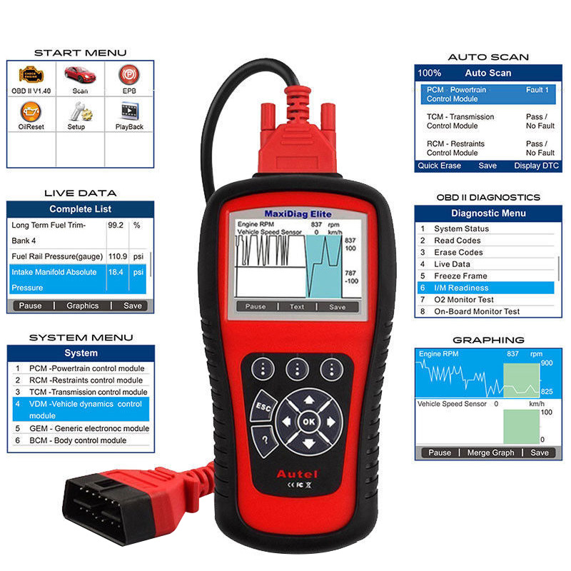 Image 3 - AUTEL MaxiDiag Elite MD802 OBD2 Scanner All System Car Detector OBDII Code Reader EPB Oil Reset OBD 2 Diagnostic Tool PK MD805-in Code Readers & Scan Tools from Automobiles & Motorcycles