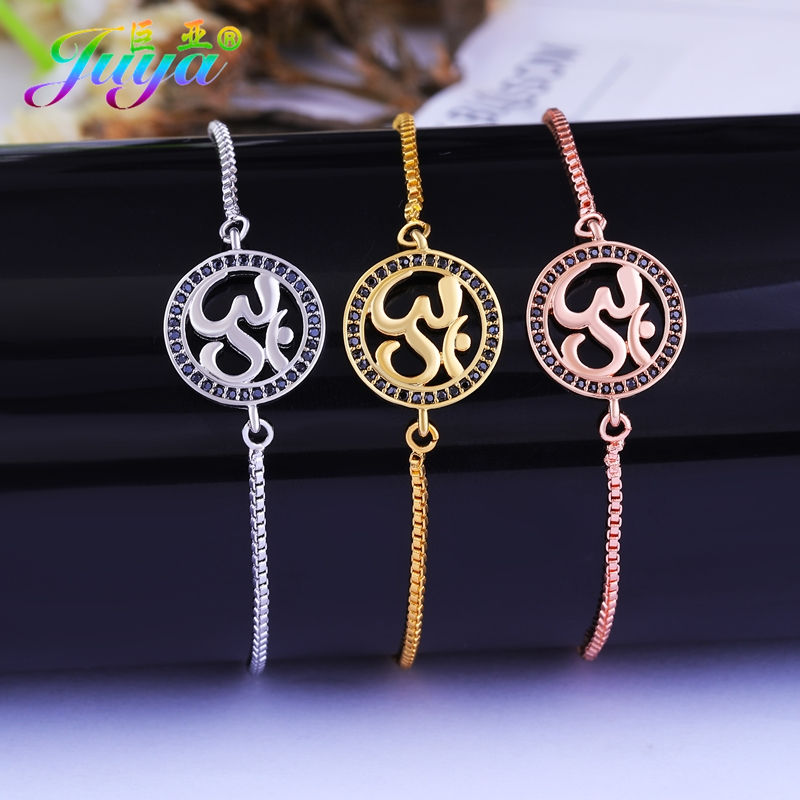 2018 New Design Dropshipping Indian Jewelry Gold/silver/rose Gold Black Zircon Yoga Om Charm Bracelets For Women Men Handmade Evident Effect