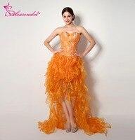 Alexzendra Beaded Bodice Sweetheart High Low Orange Prom Dresses Evening Dresses Plus Size Party Women Gown
