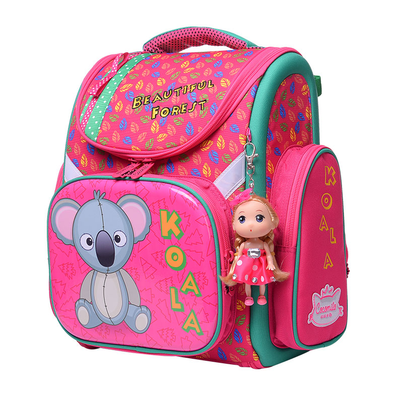 цена на High quality 3D children 6-12 year Large capacity girl folding school bag free doll students child lovely travel kids backpack
