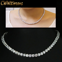 CWWZircons Luxury Sparkling 0.6 CM Big Carat Cubic Zirconia Crystal Round Choker Necklaces For Women Jewelry Party  CP044