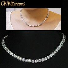 Cwwzircons luxo espumante 0.6 cm grande quilates cúbicos zircônia cristal redondo gargantilha colares para festa de jóias femininas cp044