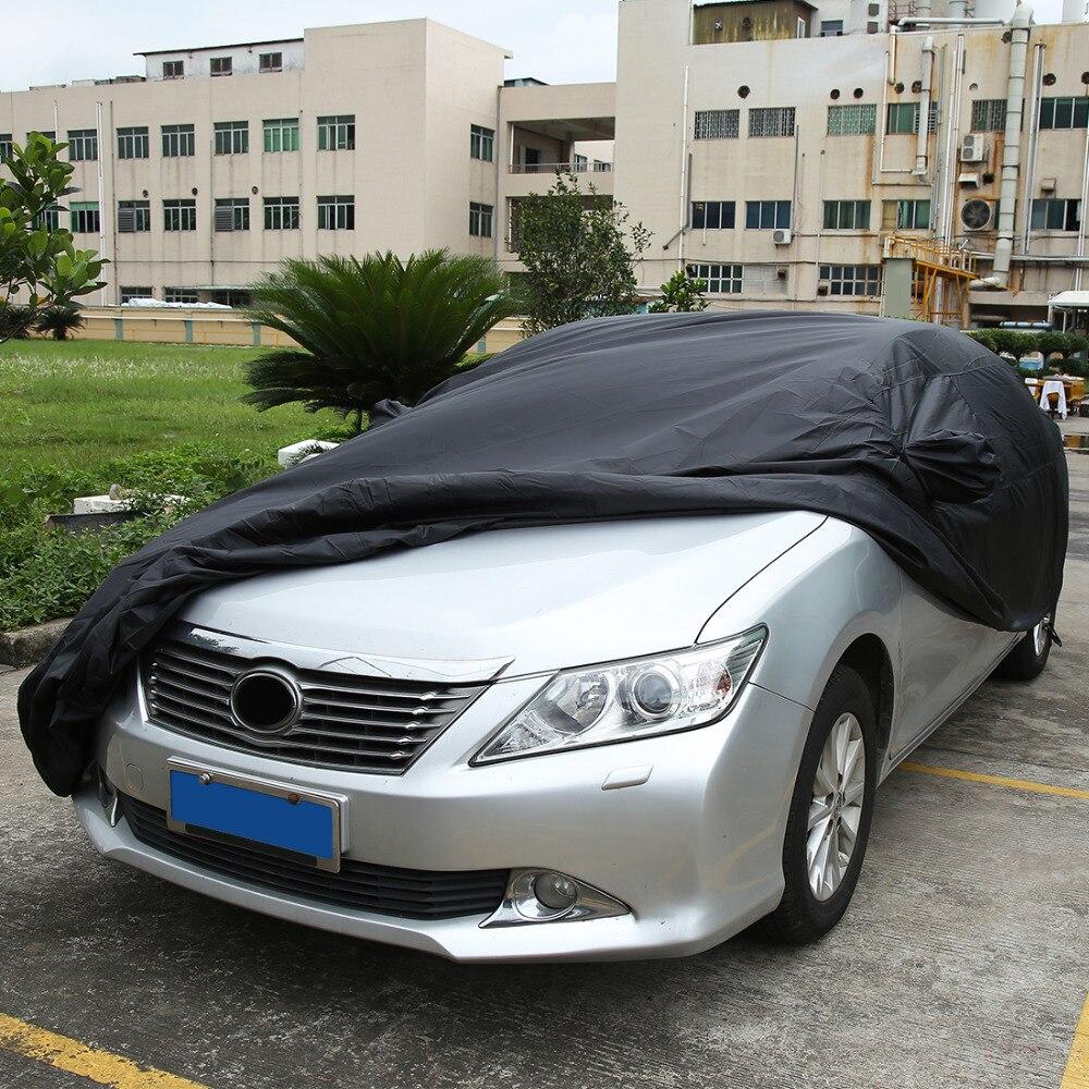 UXCELL Universel Noir Respirant Tissu Imperméable bâche de voiture w Miroir Poche D'hiver de Neige D'été Pleine Protection De Voiture COUVRE - 2
