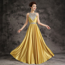 Halter Satin beading crystal work Prom Party Evening Dress Free Shipping