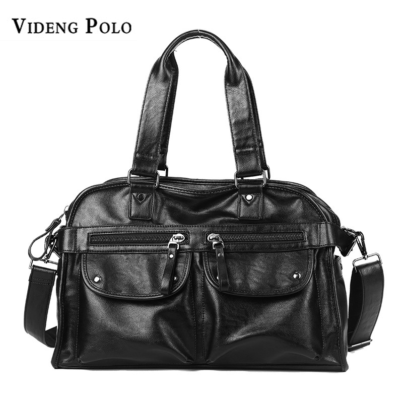 VIDENG POLO Brand Leather Men Travel Bag Large Capacity Tote Portable Shoulder Duffle Bags Men's Casual Handbag Male Bolsas