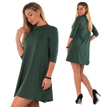 L-6XL Large Size 2018 Summer Dress Plus Size Women Clothing Big Size Casual Office Dress Blue Green Straight Elegance Dresses