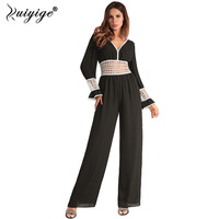 Ruiyige 2018 Women Sexy Jumpsuits Rompers Lace Patchwork Hollow Out Party V neck Backless Mesh Sleeves Loose Summer Jumpsuit