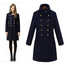 Women Handsome Double Breasted Medium Long Woolen Jacket, All-match Winter Wool Coat