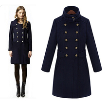 Women Handsome Double Breasted Medium Long Woolen Jacket All match Winter Wool Coat