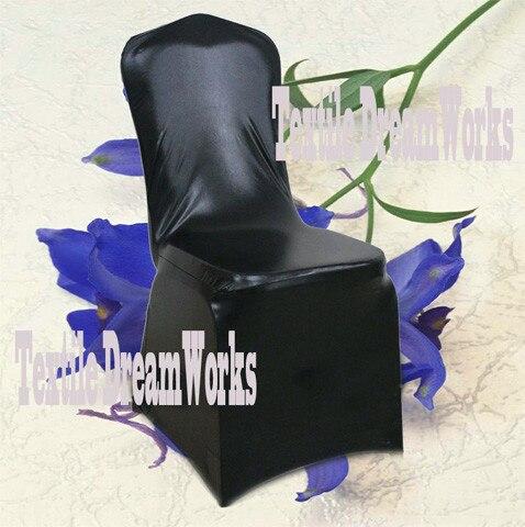 50 шт. блестящий серебристый металлик двусторонней спандекс Чехлы для стульев/лайкра Чехлы для стульев для Свадебные украшения - Цвет: Black