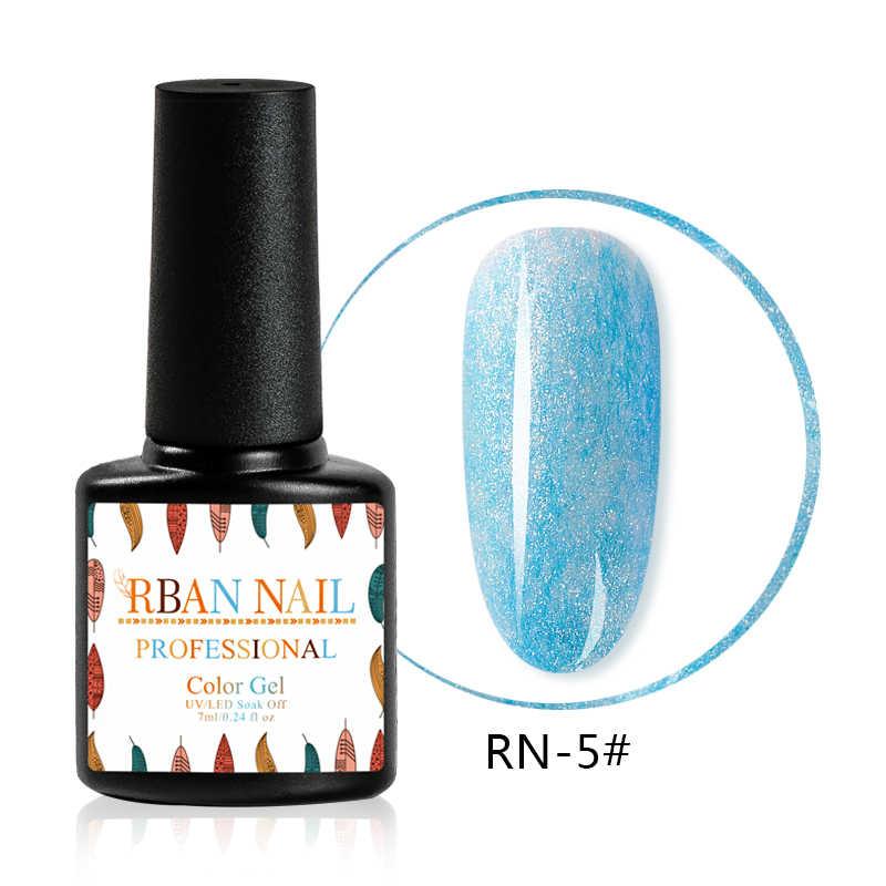 RBAN เล็บ 7ML Faux ขนสัตว์สี GEL เล็บ Shining GEL Vernis UV หลอดไฟ LED Cured ฐานต้องการเจล Lacquer เคลือบเคลือบเงา