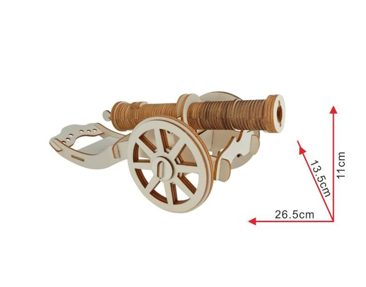 Simulation Ancient Cannonball Model 3d Three-dimensional Wooden Jigsaw Puzzle Toys for Children Diy Handmade Wooden Jigsaw