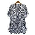 2016 мода новое поступление лето дамы блузка v-образным вырезом полосатый шифон дамы рубашка широкий причинно леди одежда Большой размер L-5XL