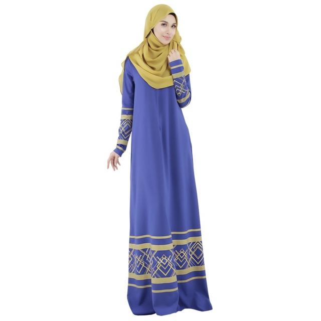 Vintage Abaya Islamic Kaftan Muslim Dress Women Cocktail Long Sleeve Maxi Dresses M L