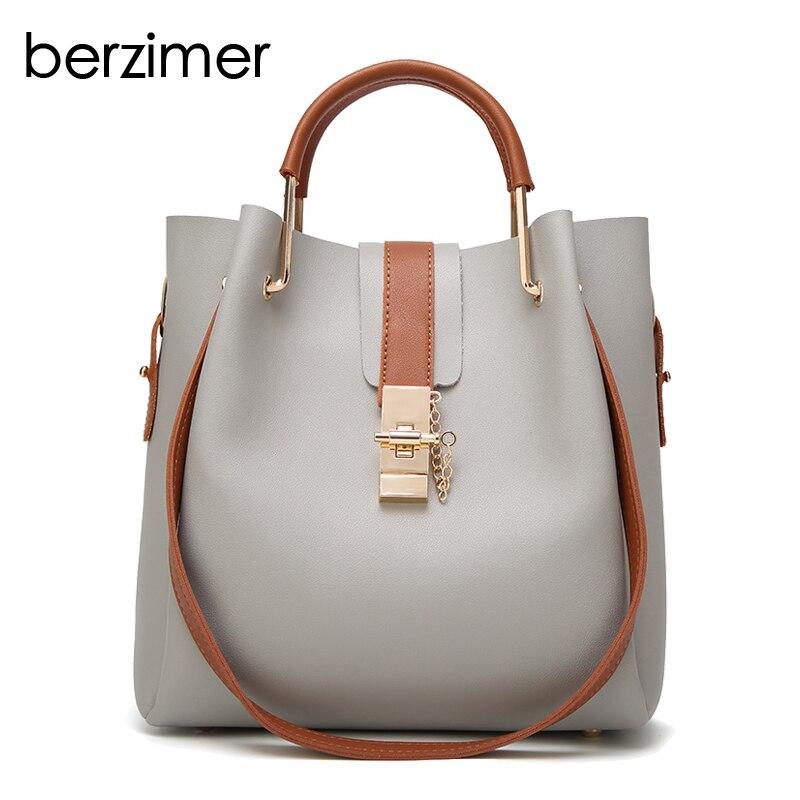 BERZIMER New Fashion Women Handbags Composite Bags Black Brown Green Wine Red Gray Shoulder Bags Stylish Tote Bags for Women цена