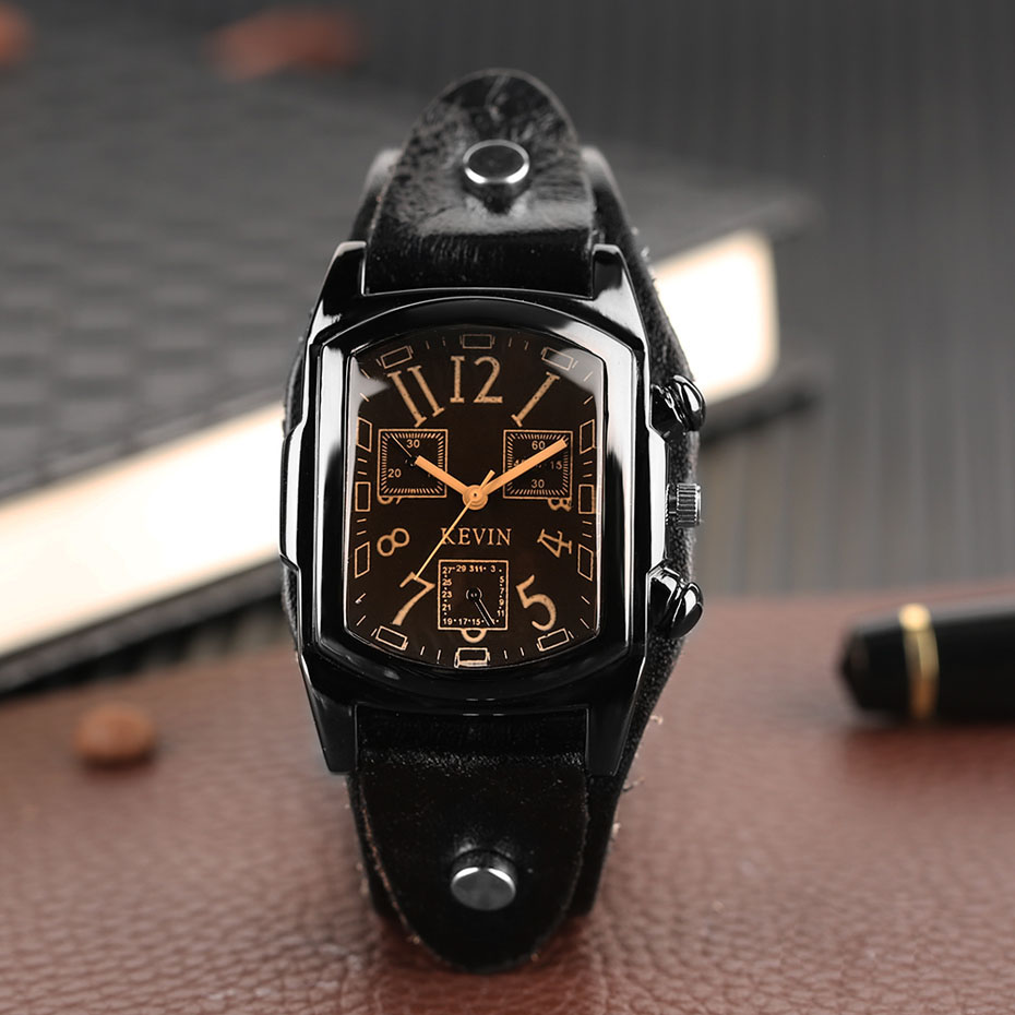 Hot Sale KEVIN Quartz Watches for Men Creative Arabic Number Rectangle Dial Leather Band Strap Male Clock for Fashion Gifts (7)