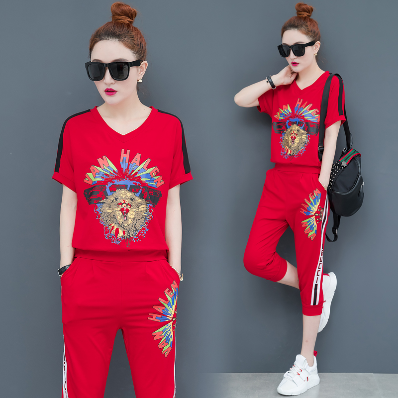 YICIYA red outfit tracksuit sportswear co-ord set for women 2 piece set plus size top and pants suits 2020 summer print clothing