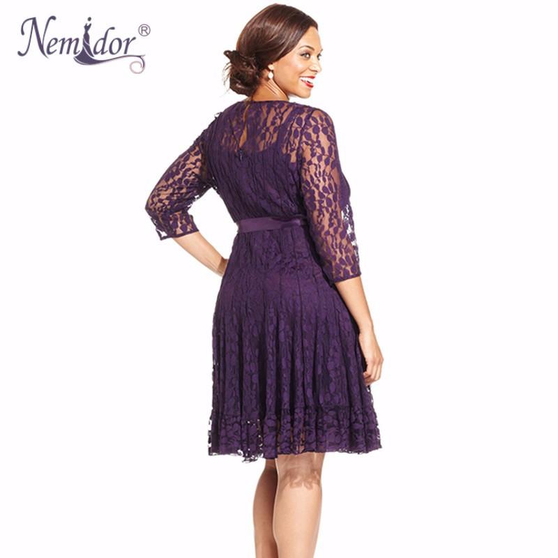 Nemidor Plus Size Lace Dress (11)