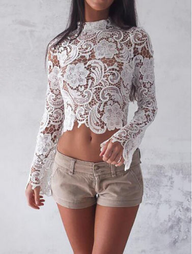 e8fef6800a7ffb Detail Feedback Questions about Sexy Sheer Lace Black White Blouse Autumn  Crop Top Women Lace Tops Long Sleeve Blouses Mesh Shirt Bodycon Blusas on  ...