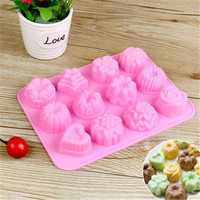 12 Even Cavities Flower Shape Silicone Molds Cake Mold Chocolate Mold Handmade Soap Mold Silicone Pastry