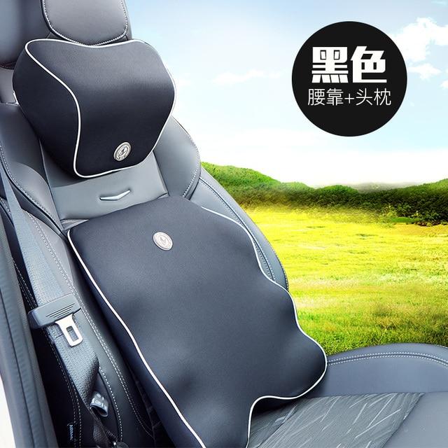 Car Seat Back Support Headrest Pillow Set Auto Neck Lumbar Cushion Slow Rebound