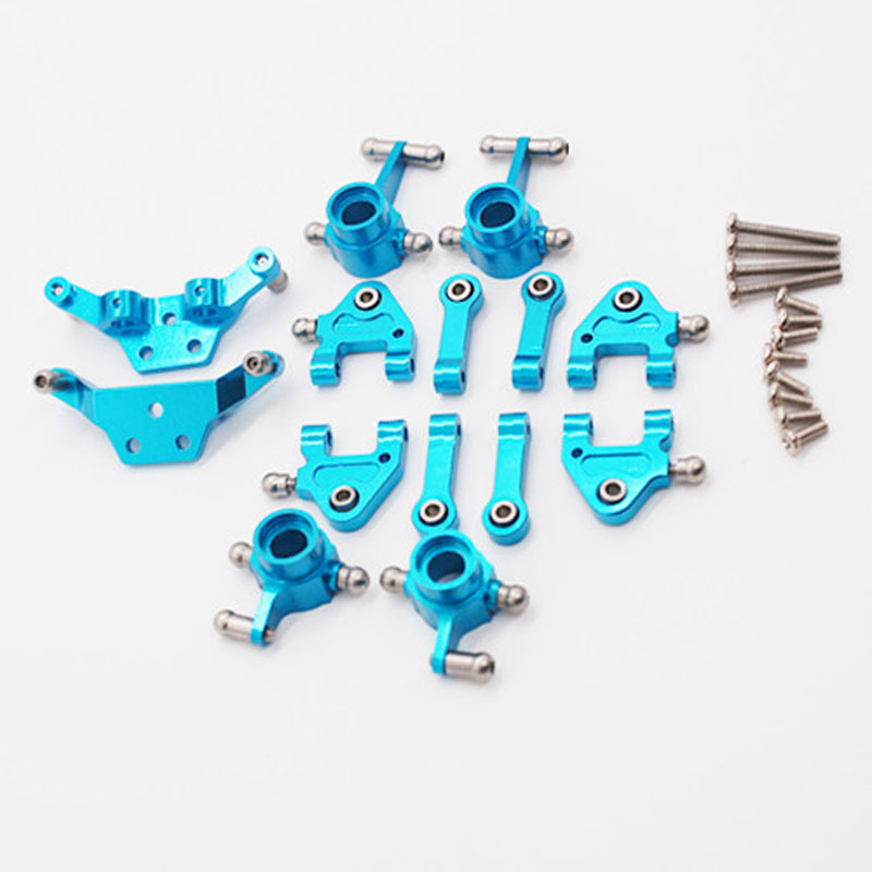 1set Wltoys 1/28 Aluminum Upper/Lower Suspension Arm Front/Rear Steering Hub Carrier Drive Shaft for P939 K979 K989 RC Model Car цены