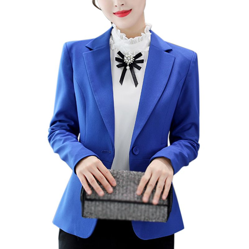 Blue Black Red Women Blazers And Jackets One Button Long Sleeve Coat Slim Office Lady Coat Female Suit Blazer Autumn Coats F1