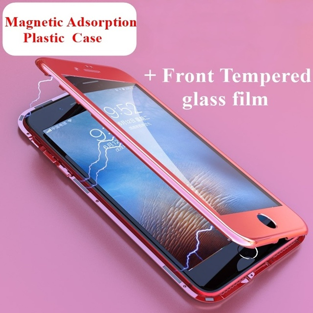 FULCOL New Magnetic Adsorption Plating Plastic Case With Front Tempered Glass Film 360 Portect Case For iPhone X 8 7 Plus