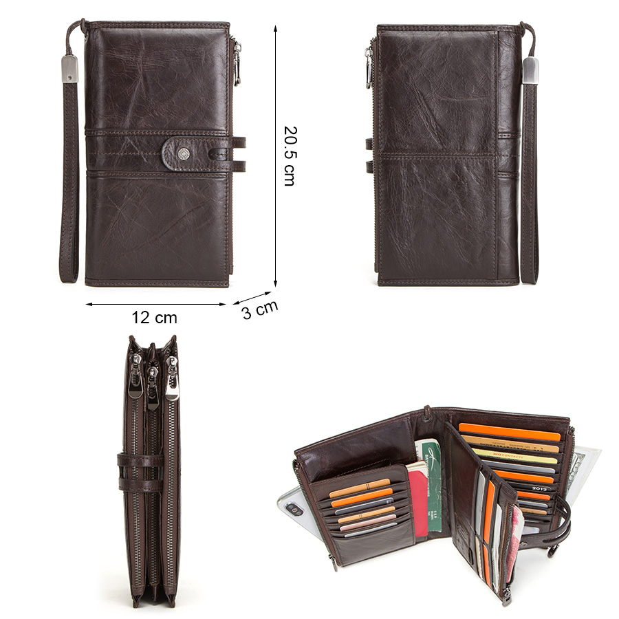 CONTACT'S genuine leather men wallet long clutch wallets for cell phone women coin purse travel money bag male passport holder