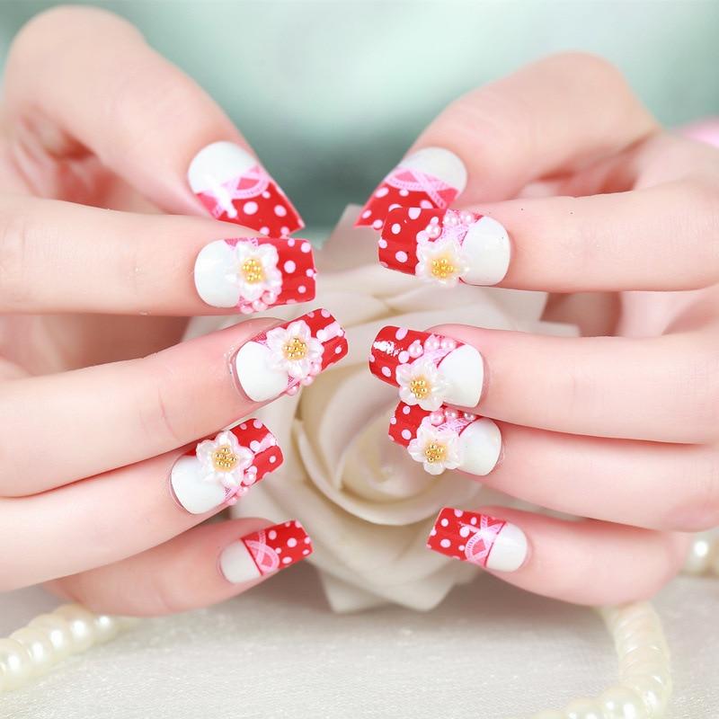 24Pcs/set White Flower Wedding False Nails Art Design